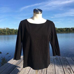 Eileen fisher black cotton 3/4 sleeve tee shirt